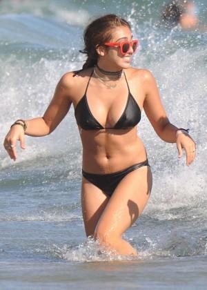Lourdes Leon in Black Bikini on the beach in Cannes