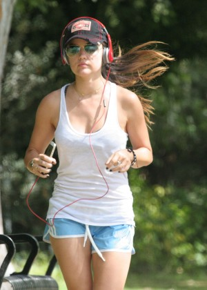 Lucy Hale in Blue Shorts Jogging in Los Angeles