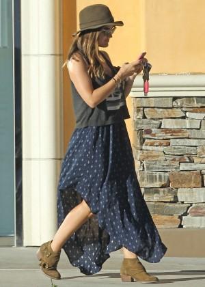 Lucy Hale in Long Blue Dress out in LA