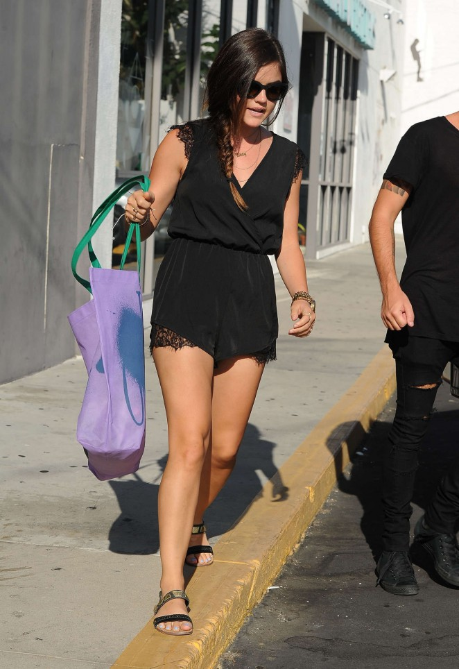 Lucy Hale in Black Shorts Shopping in Beverly Hills