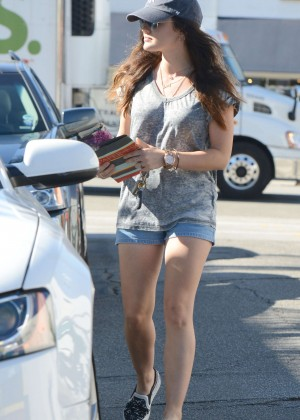 Lucy Hale in Jeans Shorts - Shops for greeting cards in LA