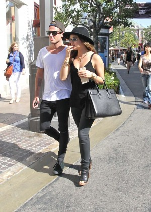 Lucy Hale with her boyfriend at The Grove in West Hollywood