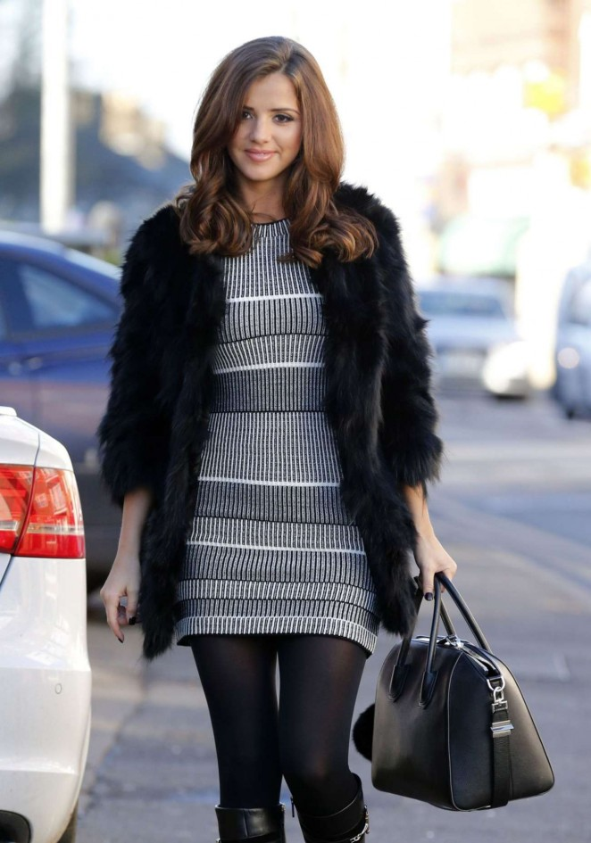 Lucy Mecklenburgh in Mini Dress Arriving at her boutique in Essex