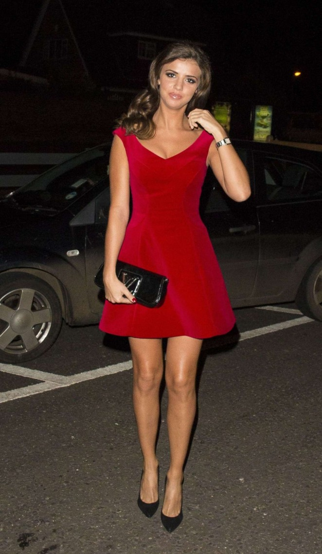 Lucy Mecklenburgh in a Red Dress Out for Dinner in Essex