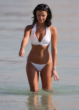 Lucy Mecklenburgh White Bikini Photos: 2014 in Dubai -08