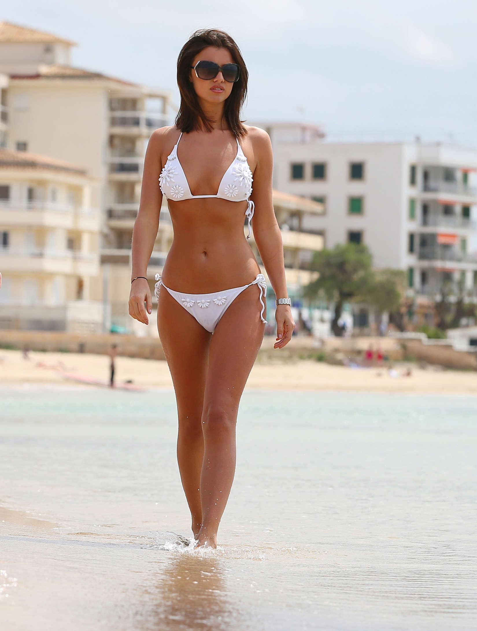 Lucy Mecklenburgh 2013 : Lucy Mecklenburgh White bikini candids in Mallorca – Spain -01