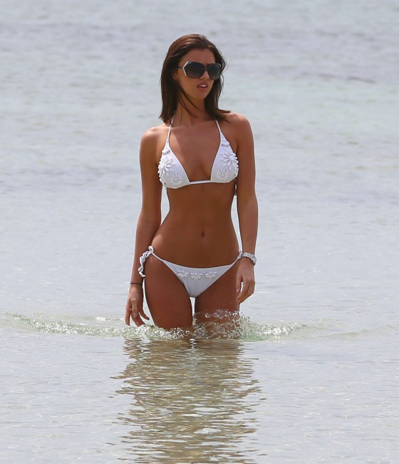 Lucy Mecklenburgh 2013 : Lucy Mecklenburgh White bikini candids in Mallorca – Spain -11