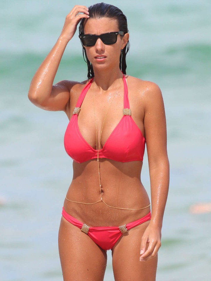 Ludivine Kadri Sagna in a Red Bikini on Miami Beach