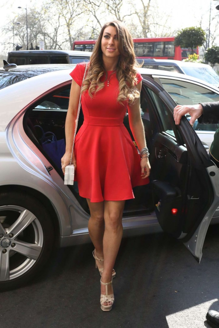 Luisa Zissman in Red Dress Out in London