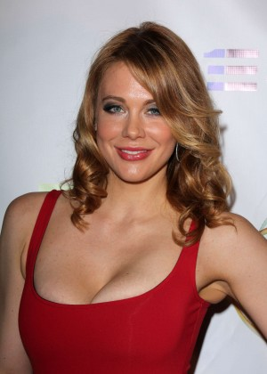 "Maitland Ward in a red dress at ""Mercenaries"" premiere in Burbank"