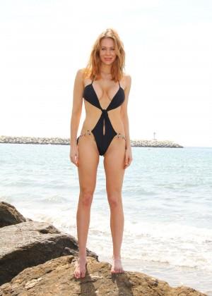 Maitland Ward in a Black Swimsuit -06