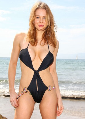 Maitland Ward in a Black Swimsuit -07