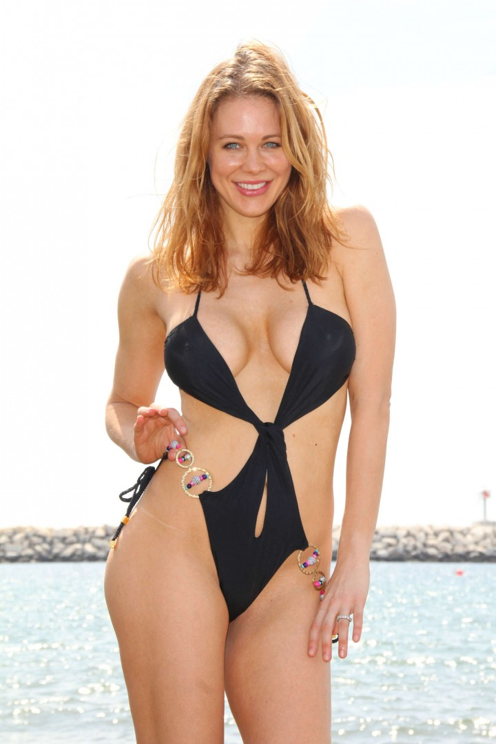 Maitland Ward in a Black Swimsuit Photoshoot in Malibu