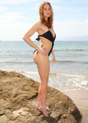 Maitland Ward in a Black Swimsuit -17