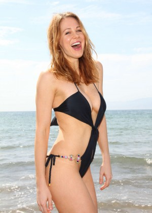 Maitland Ward in a Black Swimsuit -26