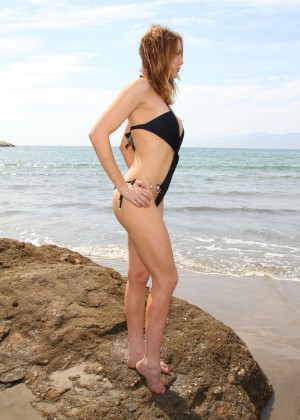Maitland Ward in a Black Swimsuit -29