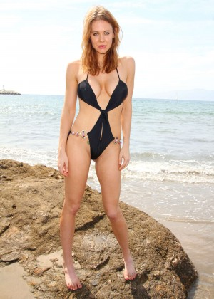 Maitland Ward in a Black Swimsuit -30