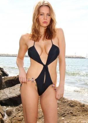 Maitland Ward in a Black Swimsuit -33