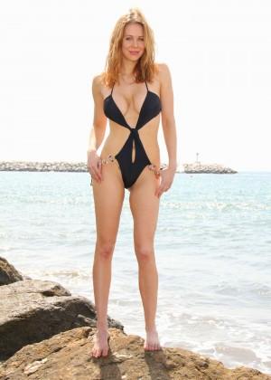 Maitland Ward in a Black Swimsuit -35