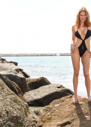 Maitland Ward in a Black Swimsuit -37