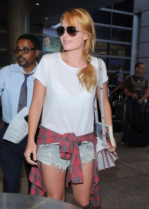 Margot Robbie in Jeans Shorts at LAX Airport in LA