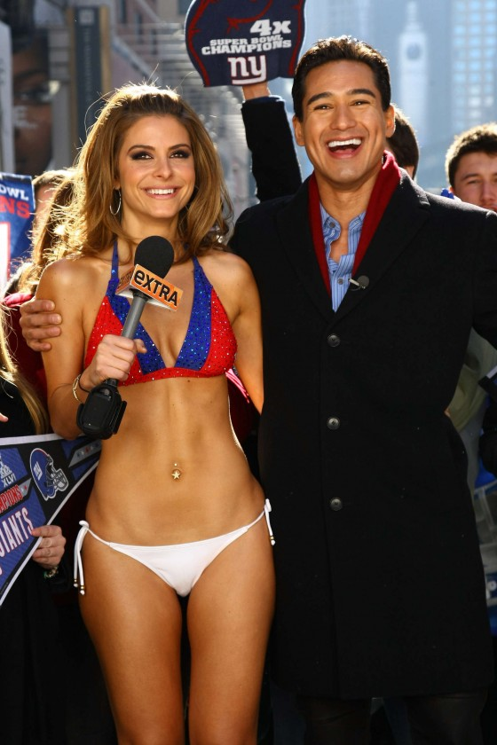 Maria Menounos In a NY Giants bikini in Times Square