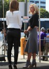 Maria Menounos in leather interviewing Katherine Jenkins for Extra -02