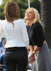 Maria Menounos in leather interviewing Katherine Jenkins for Extra -04