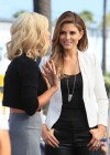Maria Menounos in leather interviewing Katherine Jenkins for Extra -06