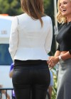 Maria Menounos in leather interviewing Katherine Jenkins for Extra -08