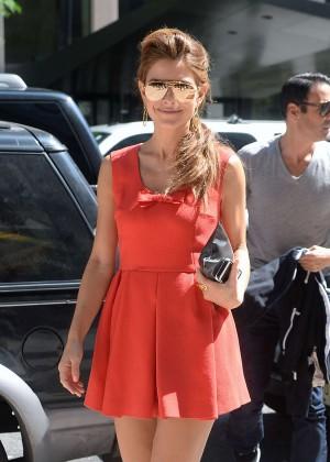 Maria Menounos in Red - SiriusXM New York City