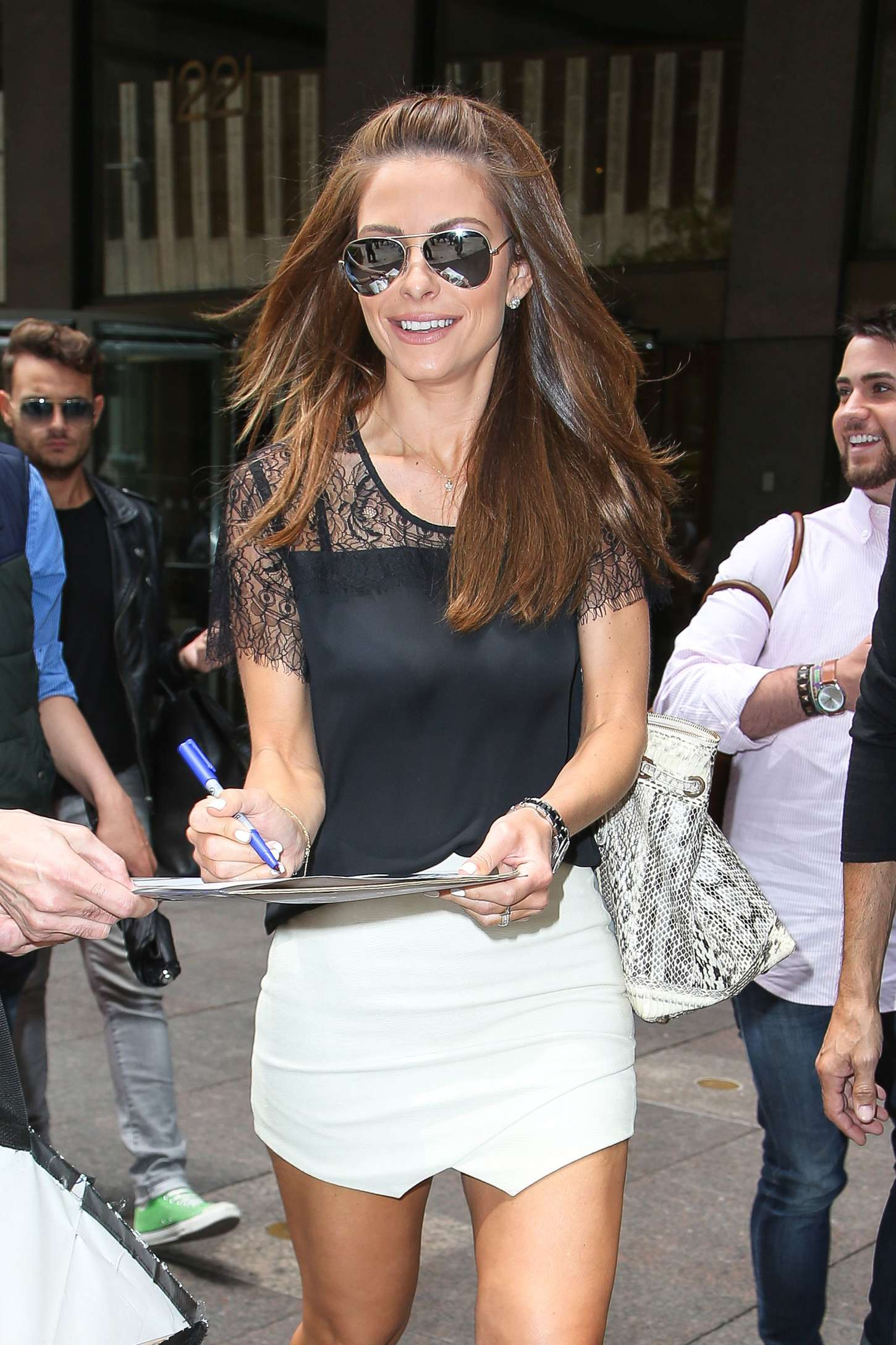 maria menounos signing autographs out in new york city
