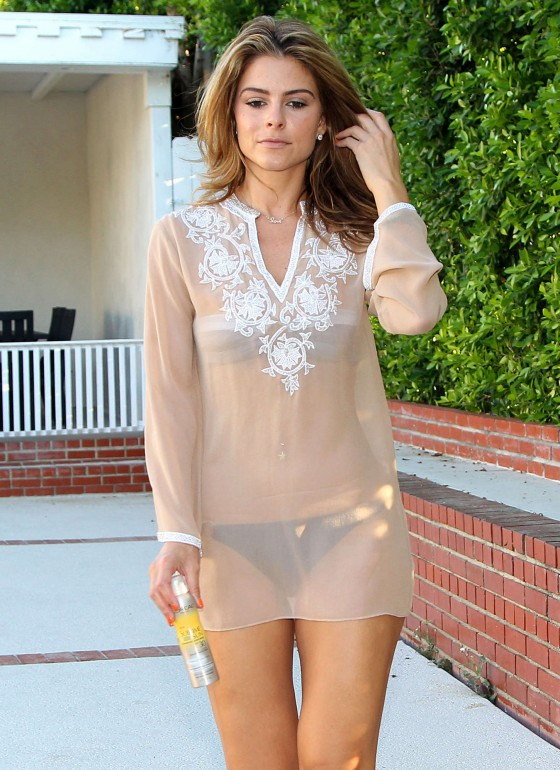 Maria Menounos – Looking Hot in a seethru to bikini at home in Encino-03