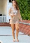 Maria Menounos - Looking Hot in a seethru to bikini at home in Encino-06