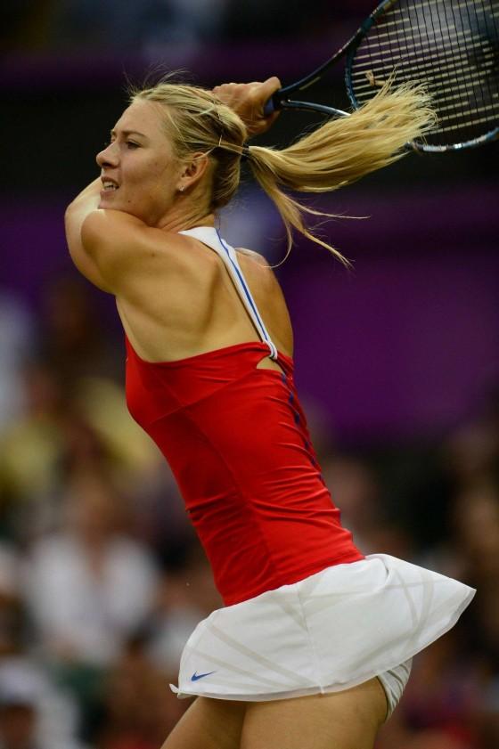 Maria Sharapova legs in short skirt at Olympic Summer Games in London
