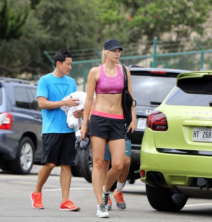 Maria Sharapova in Shorts Working out in California