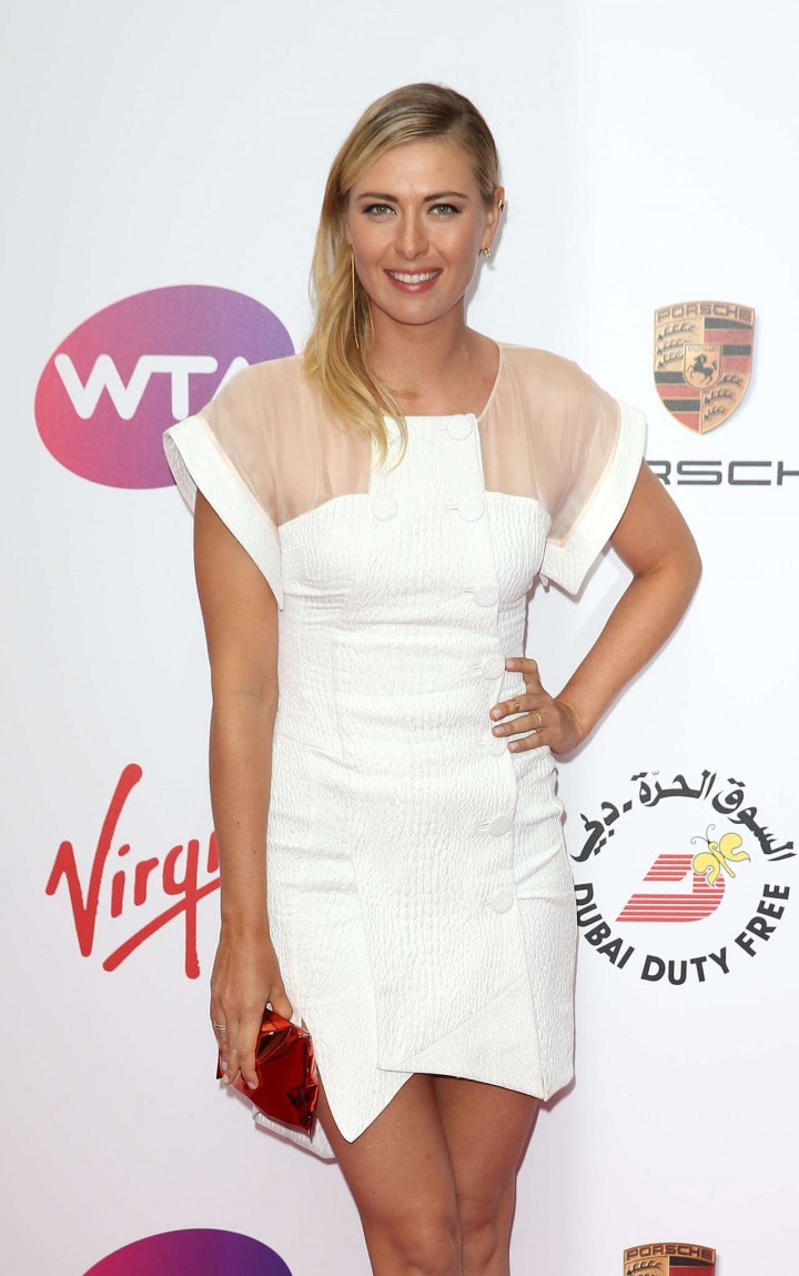 Maria Sharapova in short white dress -01