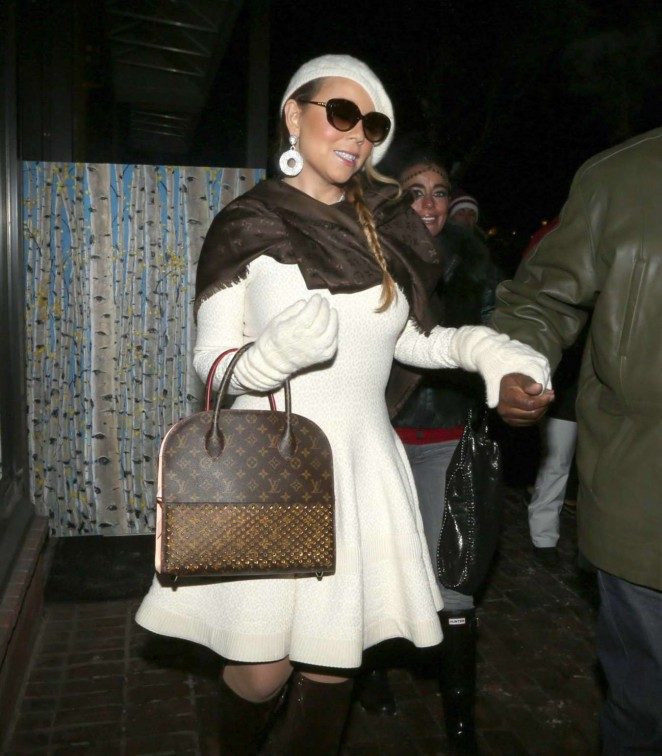 Mariah Carey in Short Coat - Shopping at Louis Vuitton in Aspen