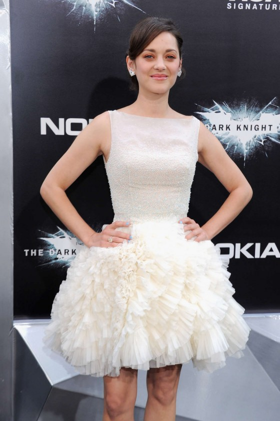 Marion Cotillard - looks cute in a white dress at The Dark Knight Rises premiere in New York