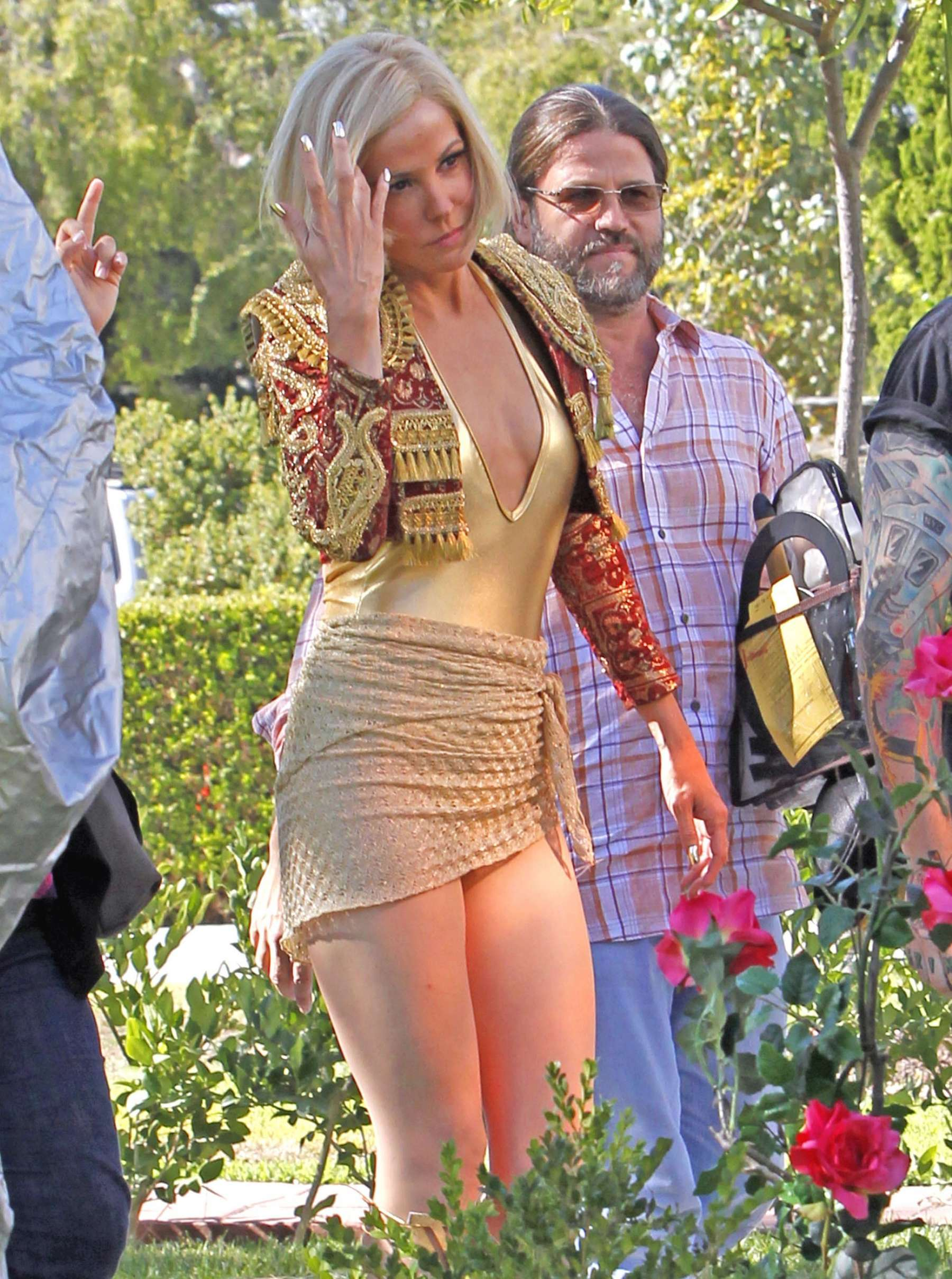 Mary Louise Parker hot in gold swimsuit-05