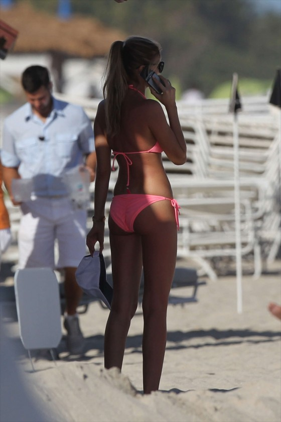 Maryna Linchuk - Pink bikini at the beach in Miami
