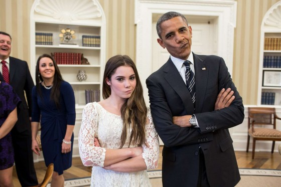 McKayla Maroney and Obama with Kyla Ross, Aly Raisman, and Jordyn Wieber at The White House in Washington, DC