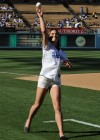 McKayla Maroney shows her legs in denim shorts at the Dodgers game in Los Angeles