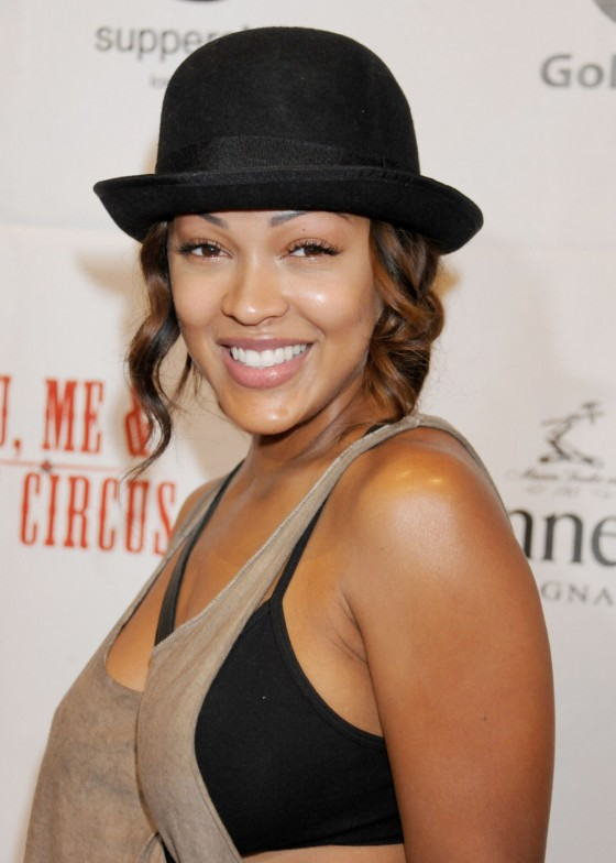 Meagan Good shows bra at You, Me & The Circus Premiere in LA