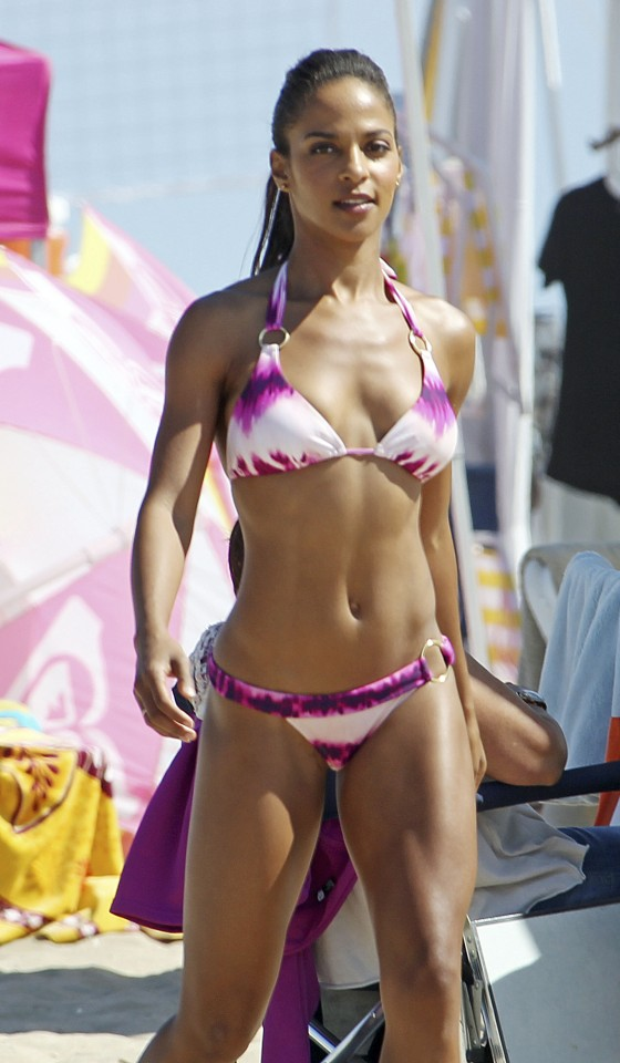 Megalyn Echikunwoke Sexy Bikini Pics From Set Of 90210 at Huntington Beach-05
