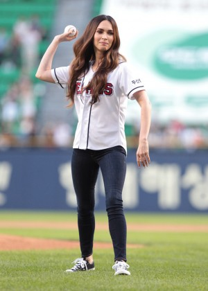 Megan Fox - First Pitch at LG Twins vs Doosan Bears game in Seoul