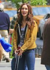Megan Fox in jeans on the set of TMNT -05