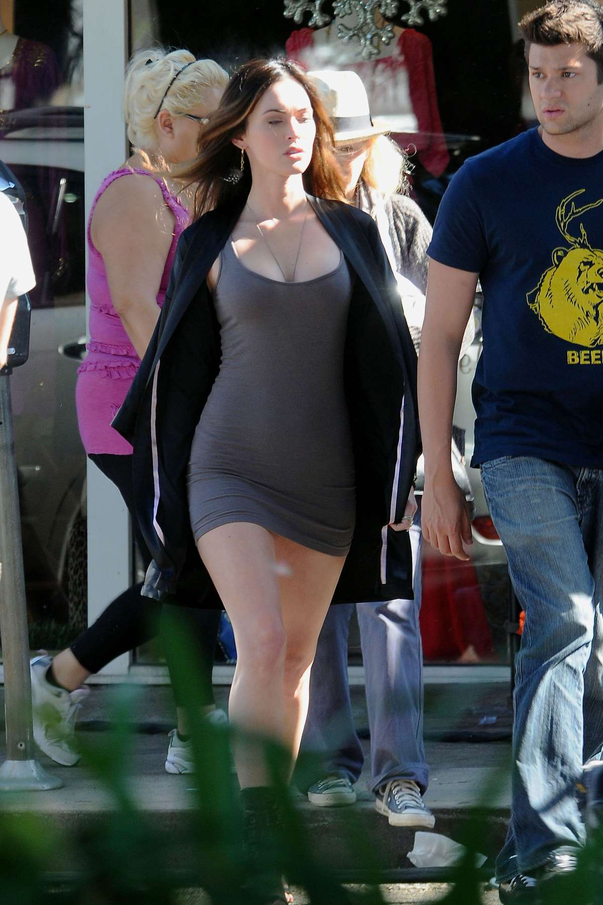 Megan Fox In Tight Short Mini Dress on set of THIS IS