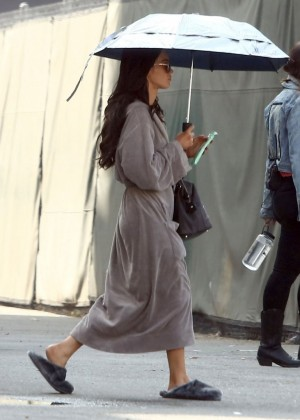 "Megan Fox in Bathrobe on the set of ""Zeroville"" in LA"