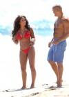 Melanie Brown - Hits Malibu beach in a red bikini -05
